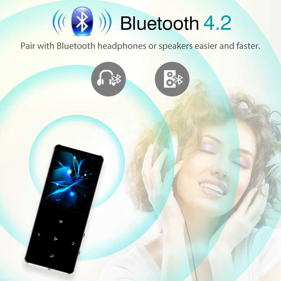 REDANT HIFI MP3 เครื่องเล่นบลูทูธ 4.2 วิทยุ FM TOUCH Key 1.8 หน้าจอ MINI MP3 กีฬา MP 3 เครื่องเล่นเพลงแบบพกพา Walkman