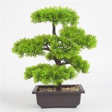 Planta verde Artificial de simulación bonsái de pino para interior y exterior, maceta para flores, decoración creativa para el hogar y la Oficina