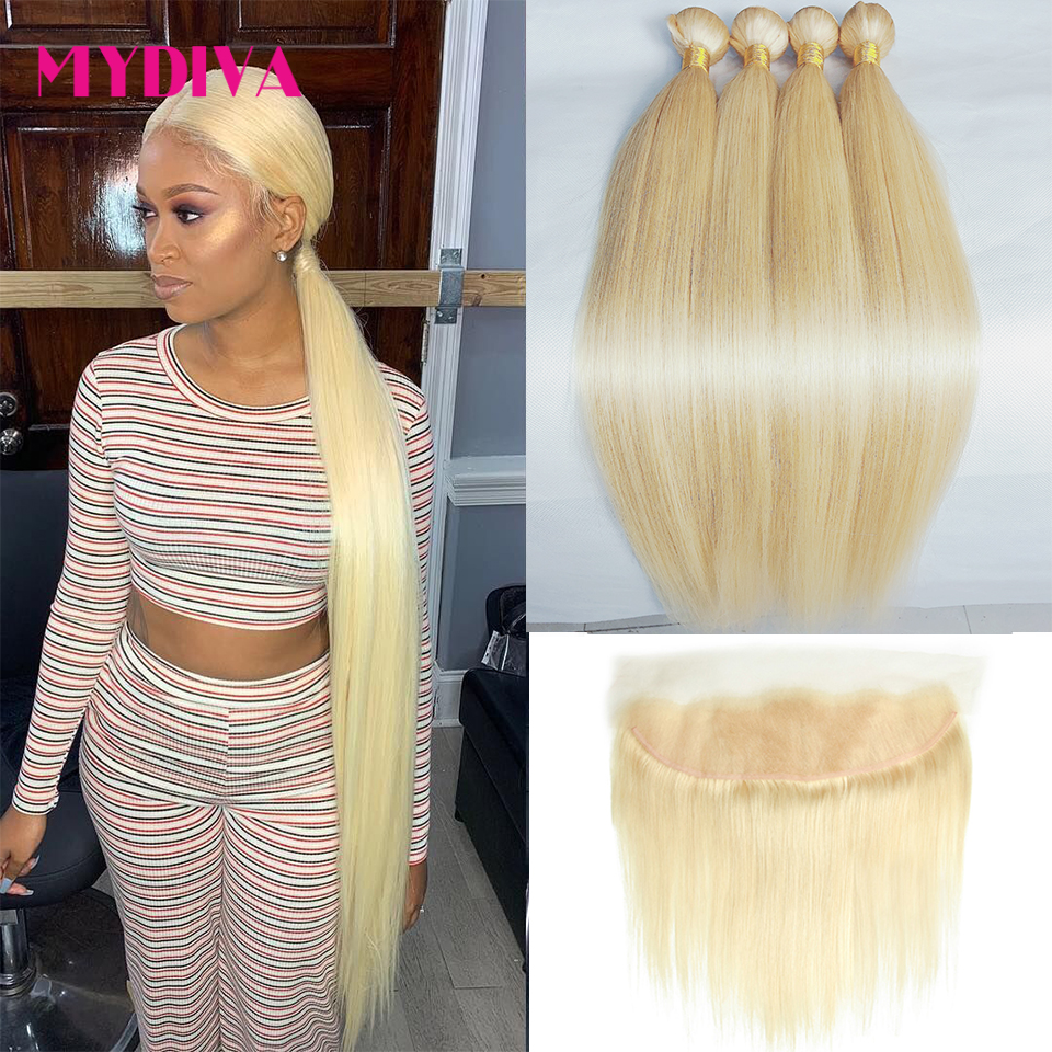 613 Bundles With Frontal Brazilian Straight Hair Bundles With Frontal Blonde Human Hair Bundle 30 32 40 Inch With Closure Remy
