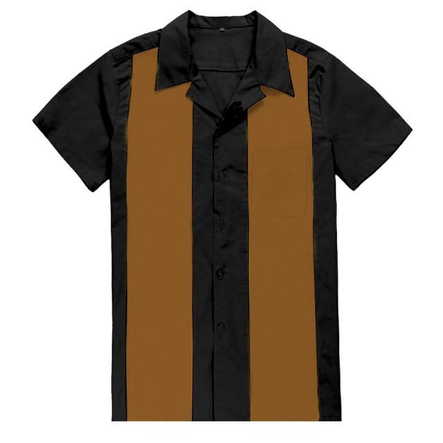 Men/'s Hot Rod Tan /& Black Rockabilly shirt Rock n roll shirt bowling shirt