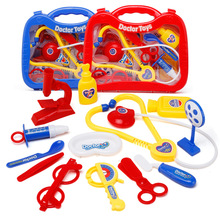 13Pcs/set with box Children doctor toy pretend play set portable suitcase medical tool kids game play house toys