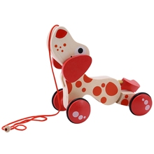 Wooden Pull Toy Wooden Car Child Toddler Toy Wooden Cartoon Puppy Toy Car Hauling Car