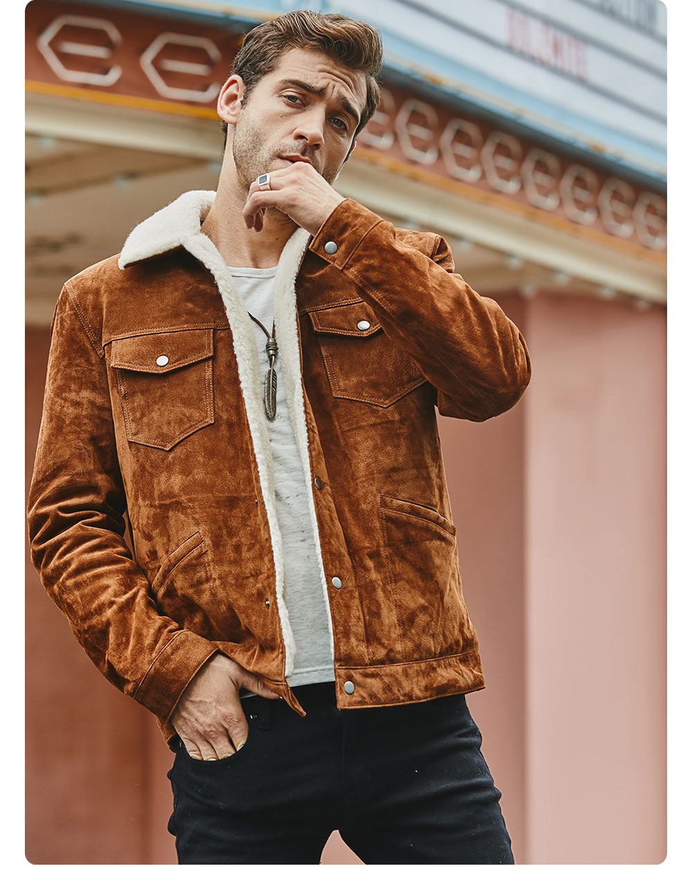 H99535e1064d844e18012be8792858e32Y FLAVOR New Men's Real Leather Jacket Genuine Leather With Faux Shearling Warm Coat Men
