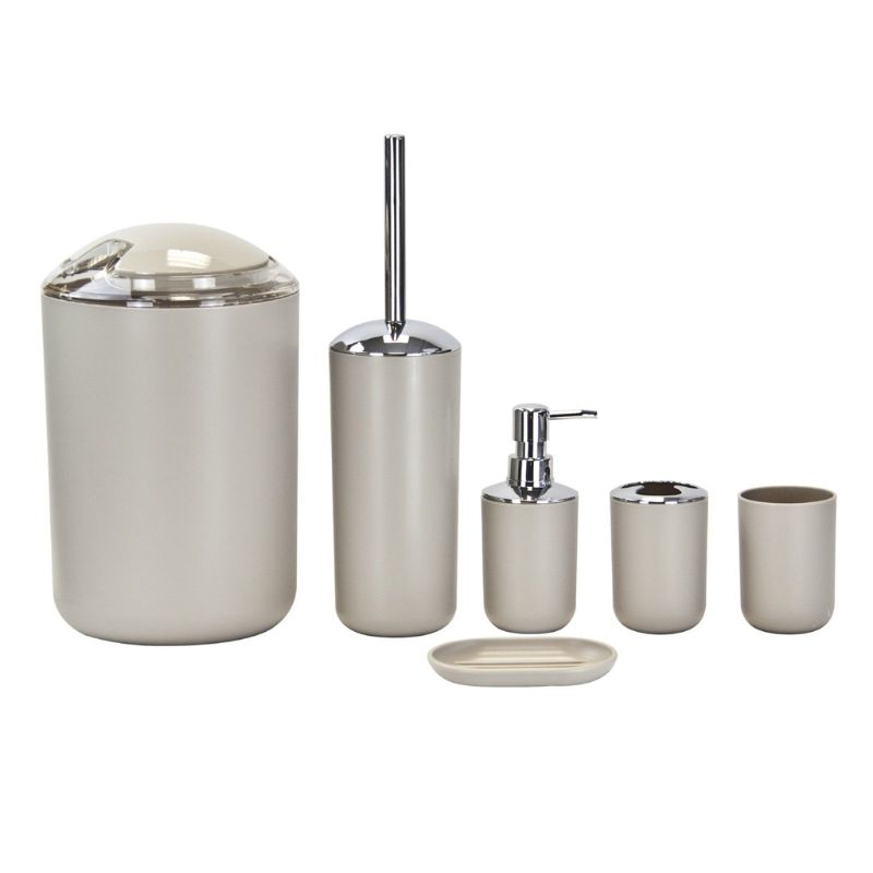 6-piece Bathroom Accessory Set With A Variety Of Color Options. Plastic