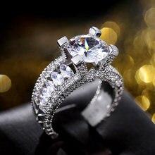 Huitan luxo prata cor redonda zircônia cristal feminino anéis de casamento brilhante cerimônia de casamento anéis de noiva jóias de afirmação
