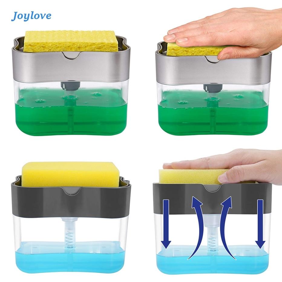 JOYLOVE Soap Pump Dispenser Sponge Holder Cleaning Liquid Dispenser Container Manual Press Soap Organizer Kitchen Cleaner Tool