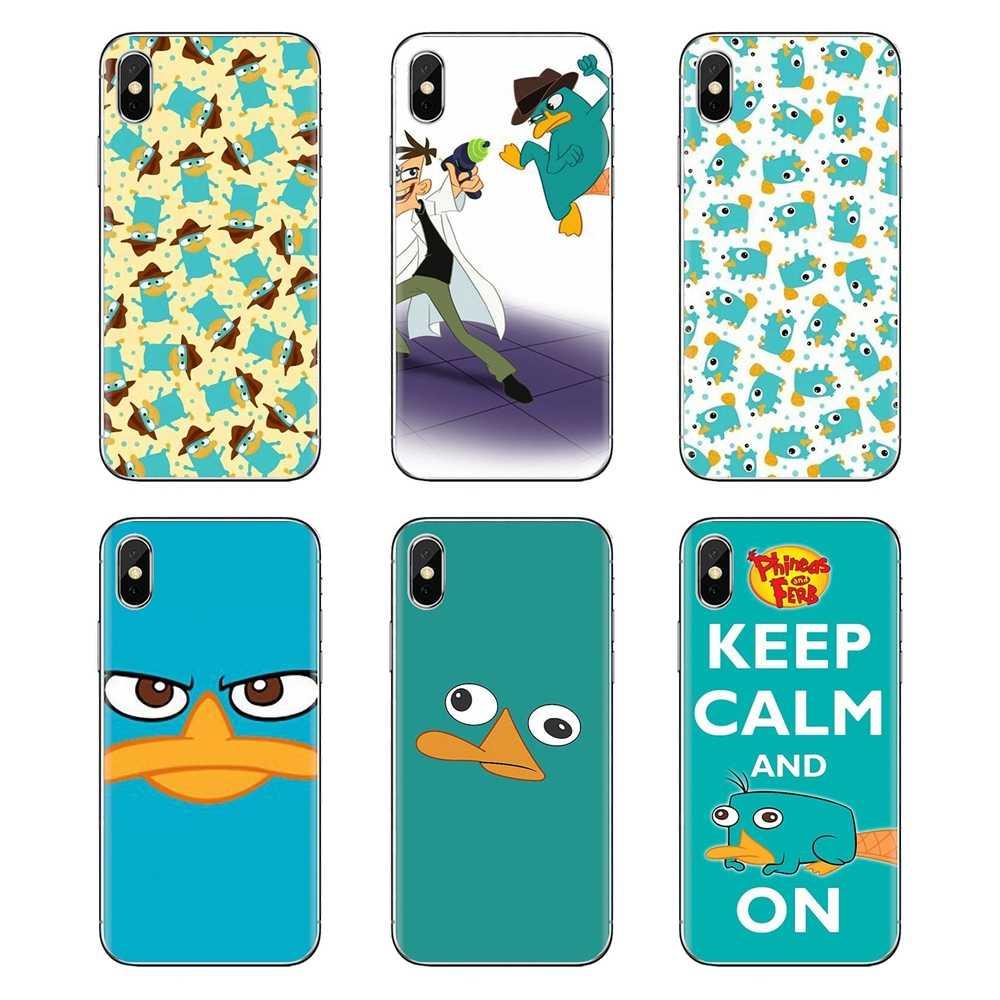 Voor Samsung Galaxy J1 J2 J3 J4 J5 J6 J7 J8 Plus 2018 Prime 2015 2016 2017 Mobiele Telefoon Geval cover Cartoon Perry Het Vogelbekdier Art