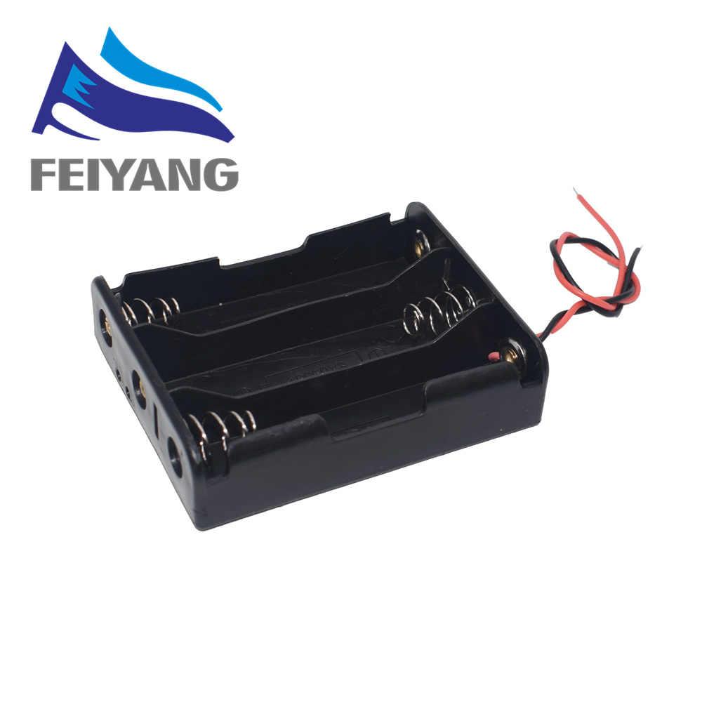พลาสติกขนาดมาตรฐานAA/18650 แบตเตอรี่ผู้ถือกล่องกรณีสีดำที่มีสายไฟ 3.7V/1.5V