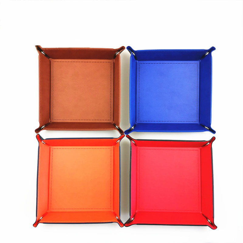 Foldable storage box PU leather square tray key wallet coin box desktop storage box decoration for dice table game