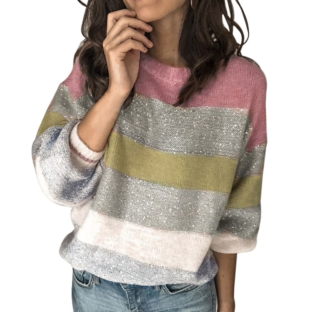 MoneRffi 2020 Long Sleeve Shiny Sweaters Pull Jumper Glitter Patchwork Striped Femme Sweater Women O Neck Knitted Pullover Tops