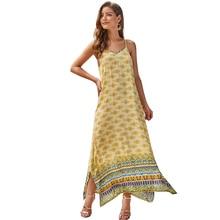 New Women Beach Holiday Dress Fashion Women's Summer Print Strap Dress Sleeveless V-neck Women Clothes Stylish Style Dress 2019 цена