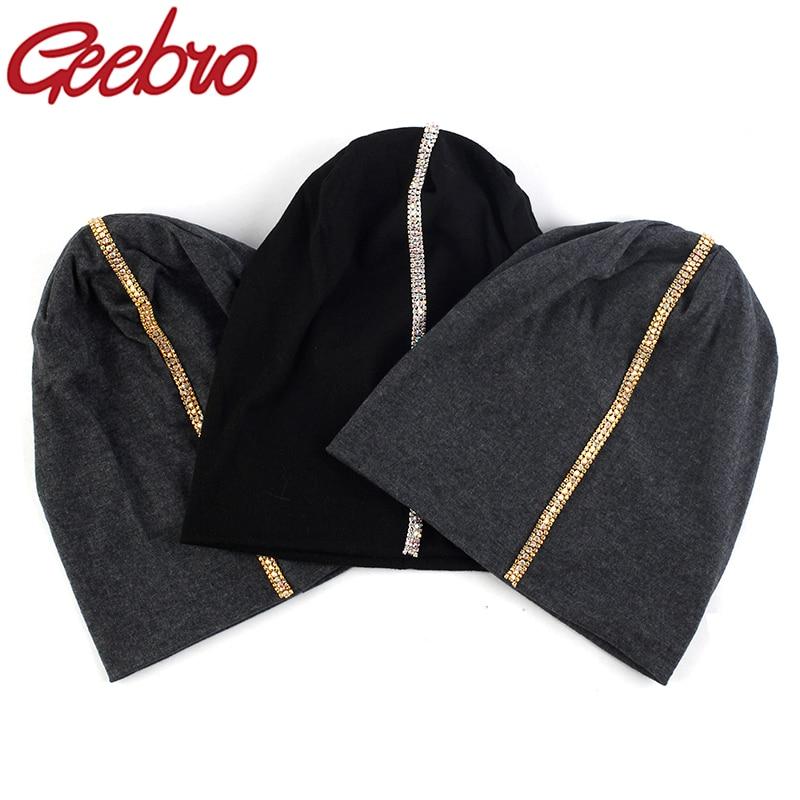Geebro, металлические стразы, громоздкие, Skullies Beanies для женщин, женские осенние шапки, зимние, хлопковые, стрейчевые, повседневные Шапки|Женские Skullies и шапочки|   | АлиЭкспресс