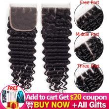 Janin Hair-extensiones de pelo brasileñas con encaje, accesorio capilar de Color Natural ondulado y profundo, 4x4