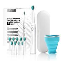 SEAGO-cepillo de dientes eléctrico recargable para amantes, caja de viaje, portátil, taza plegable, Ultra sónico, cabezales de repuesto
