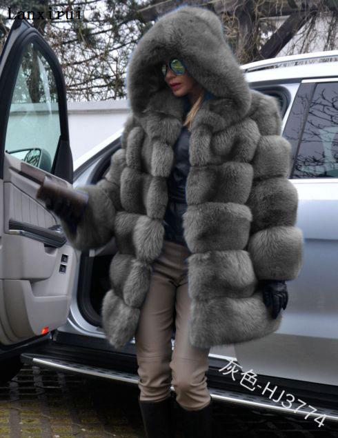 Lanxirui Elegant Faux Fox Fur Coat Women Winter Fashion Medium Long Artifical Fox Fur Coat Lady Warm Fake Fox Fur Coats Female