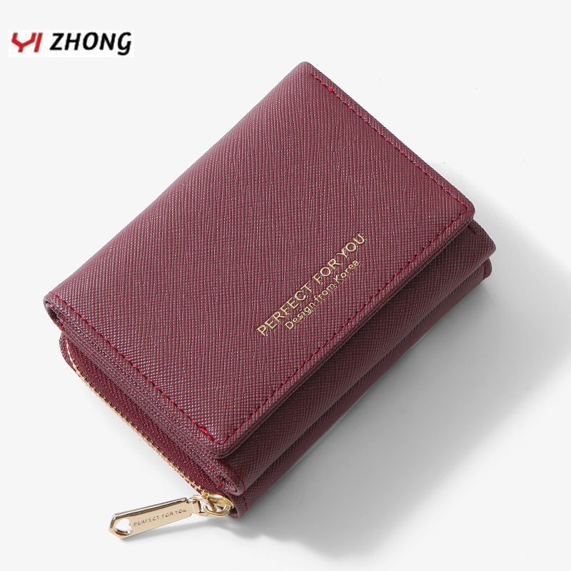 YIZHONG Ladies Mini Leather Purse Luxury Slim Wallet For Women Zipper Coin Purse Card Holder Small Wallets Female Cartera Mujer