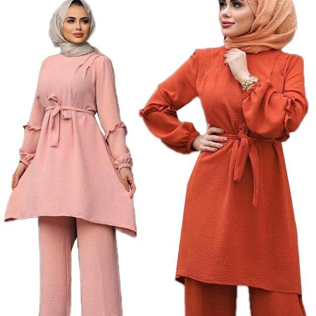 2 Piece Muslim Arab Long Tunic Tops Blouse Pants Women Casual Abaya Kaftan Sets
