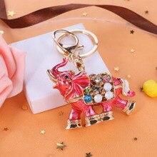 Creative Rhinestone Alloy Elephant Keychain Gift Fashion Crystal Enamel Anaiml Metal Keyring Key Chain Car Handbags Accessories
