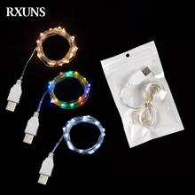 2M 5M 10M USB LED Fairy String drut miedziany bajki światła do użytku wewnątrz pomieszczeń sypialnia festiwal świąteczne wesele Patio wystrój nowego roku tanie tanio RXUNS CN (pochodzenie) ROHS 1 YEAR CHRISTMAS Z tworzywa sztucznego None Żarówki led Brak Klin 500cm 1-5 m WHITE 20-50 głowy