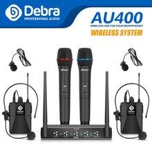 AU400 UHF Pro 4 قنوات ميكروفون محمول ، احترافي ، محمول باليد ، Lavalier وسماعات رأس ، نظام ميكروفون لاسلكي للكاريوكي ، حفلة الكنيسة