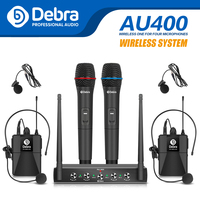 Professional AU400 UHF Pro 4channel handheld or Lavalier & Headset Portable wireless microphone system for karaoke church party