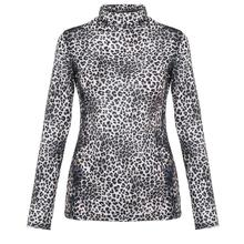 цена на Winter Fashion Plus Size T Shirt Women Casual Long Sleeve Leopard Print Turtleneck Lightweight Pullover Top
