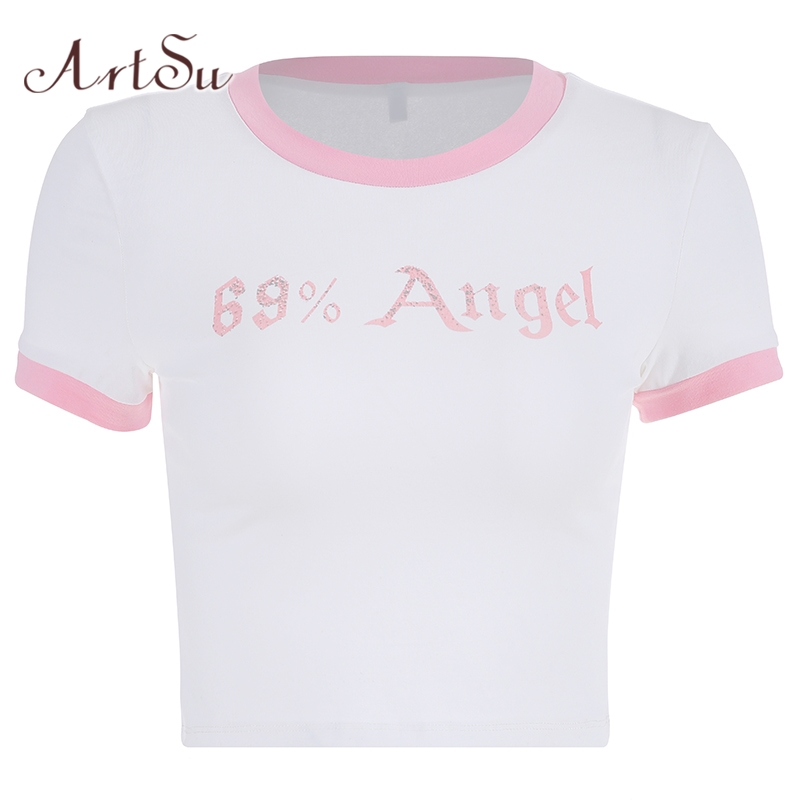 ArtSu Patchwork Letter Printed Short Sleeve Kawaii Tee Shirt Femme Cute Pink Top T Shirt Women Sexy Funny T Shirts ASTS20766