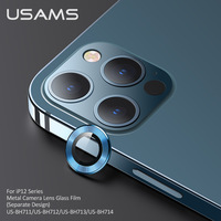 USAMS 3 pcs Matel Ring Tempered Glass Film For iPhone 12 Pro Max Camera Protector Protective Back Cover Case For Iphone 12 mini Pro Max