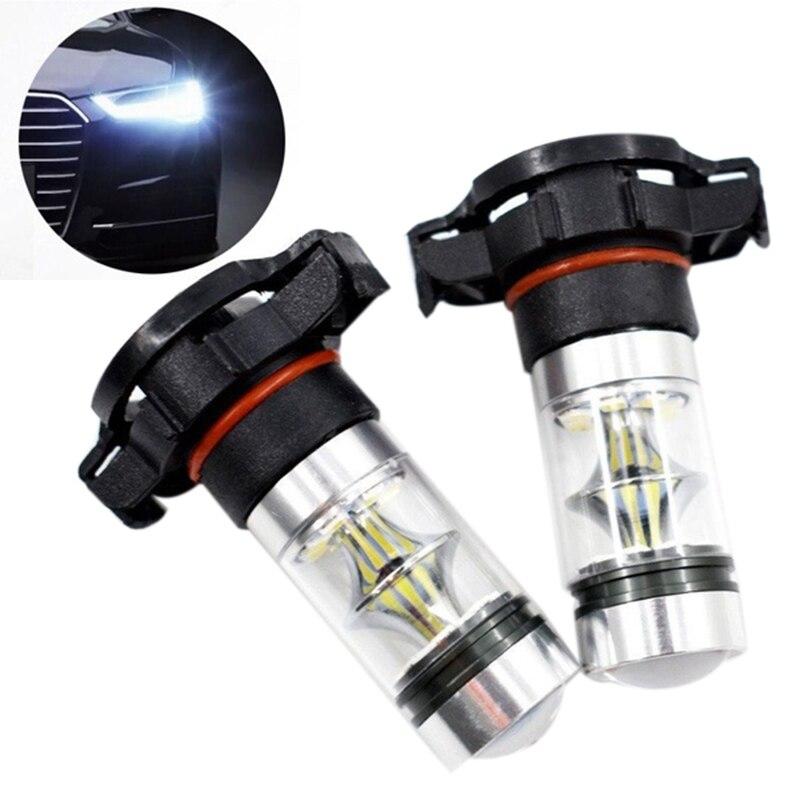 2x 5202 H16 PS24w High Power 100w 6000k Super White Led Fog Drl Lights Bulb(China)