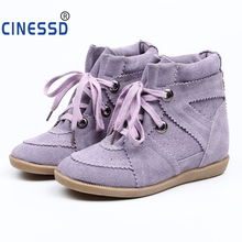 New Hidden Wedge Boots Suede Height Increasing Ankle Boots Genuine Leather Women Casual Shoes Height  Increasing Platform Shoes