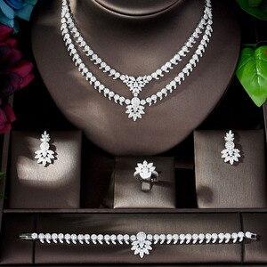 Image 2 - HIBRIDE luxe classique couleur or blanc AAA + CZ pierre mariage robe de mariée accessoires fête bijoux ensembles pour les femmes N 1197