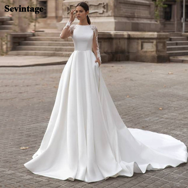 White A Line Wedding Dresses Boho Soft Satin Beach Bridal Gowns O-Neck Lace Princess Party Gowns Long Sleeves Bride Dress 2021 1
