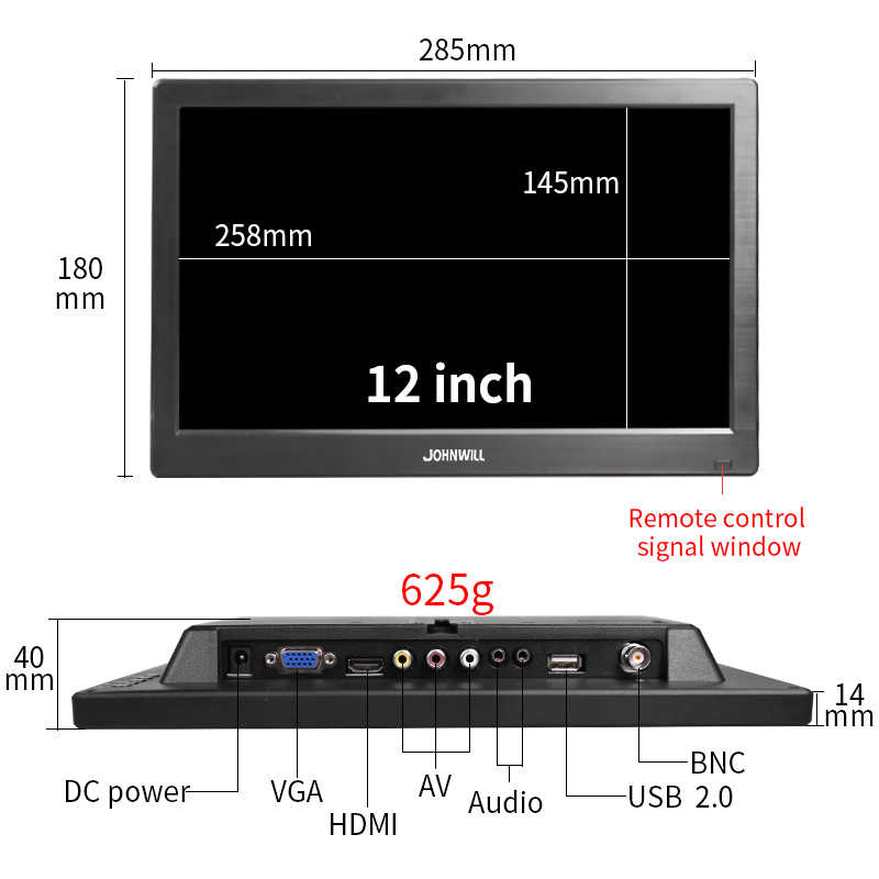 12 дюймов lcd hd портативный игровой монитор pc ips 1080P Мини дисплей экран HDMI VGA USB BNC AV компьютерный монитор для Raspberry Pi PC