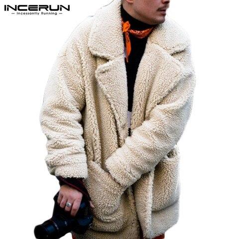 INCERUN Fashion Faux Fleece Men Coats Solid Outerwear Plush Pockets 2019 Long Sleeve Fluffy Overcoat Streetwear Men Jackets 5XL Multan