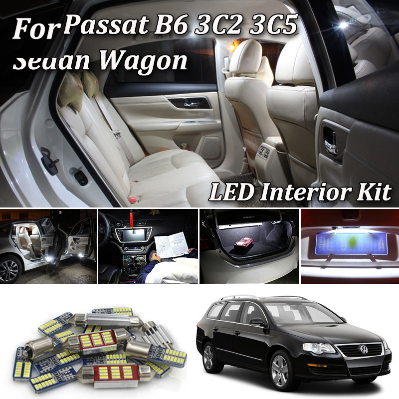 White <font><b>Canbus</b></font> Error Free <font><b>led</b></font> Car interior lights Kit for Volkswagen <font><b>VW</b></font> Passat B6 3C2 3C5 Sedan Variant Estate Wagon (2005-2011) image