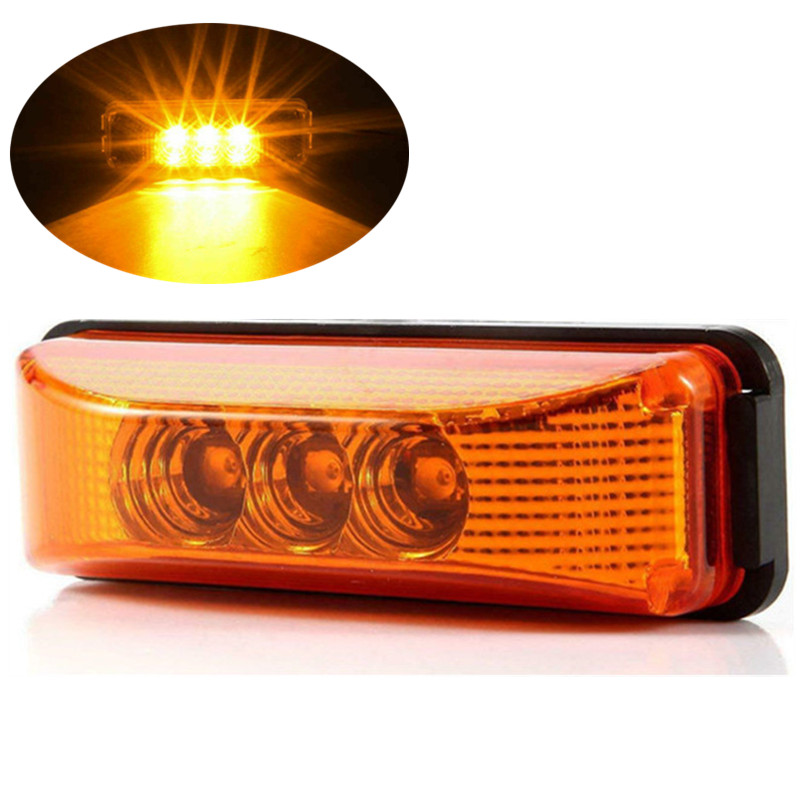 1PCS 3 LED Side Marker Light Indicator Lamp Bus Truck Trailer Lorry Caravan 12V  RV Pickup Trailer Truck Fender Rear Light