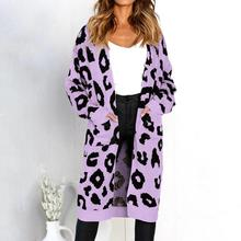 Fashion Women Cardigan Long Sleeve Leopard Print  Knitted Sweater Cardigan Open Front Coat  2019 Loose Cardigan Mujer open front colorful striped cardigan