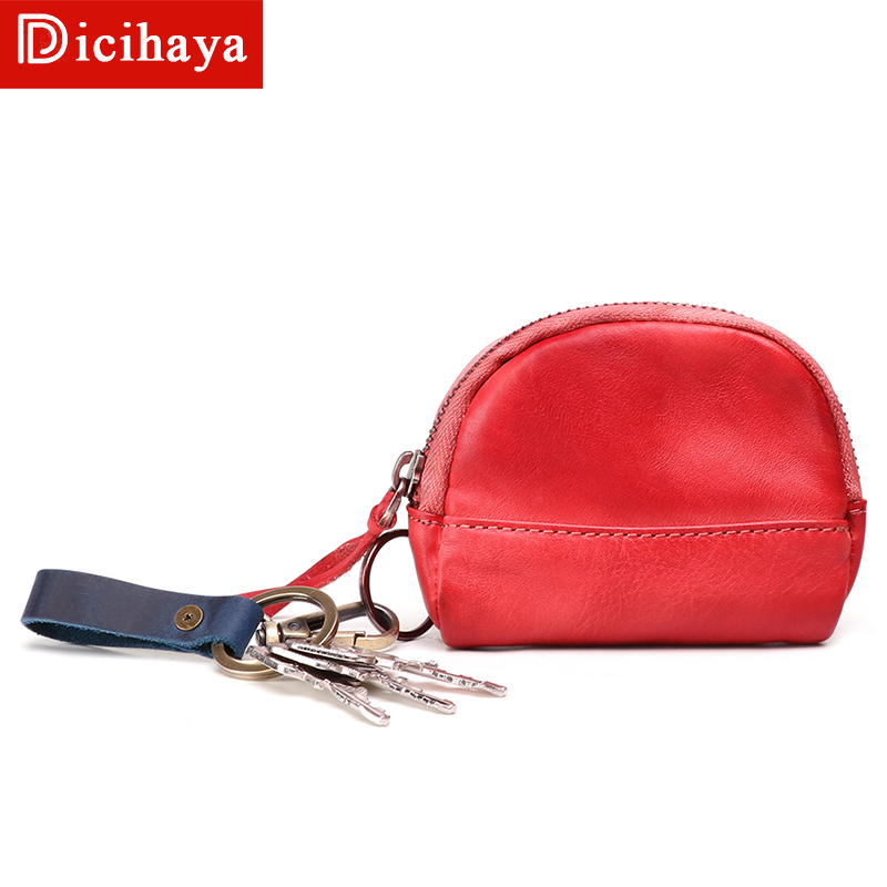 New Solid Red Black Leather Men's Women Coin Purse Genuine Leather Zipper Coin Wallet Fashion Key Holder Small Money Coin bag