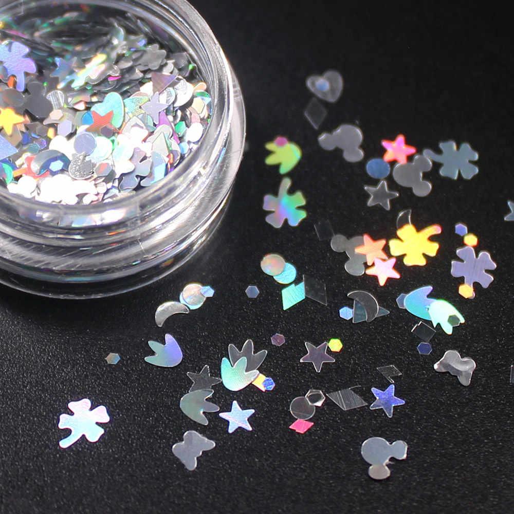 (1 pièces/vente) coloré paillettes ongles 3d tranche poudre ensemble bricolage Design Nail Art paillettes décoration mode ongles accessoires