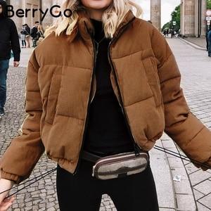 Image 5 - BerryGo Casual corduroy thick parka overcoat Winter warm fashion outerwear coats Women oversize streetwear jacket coat female