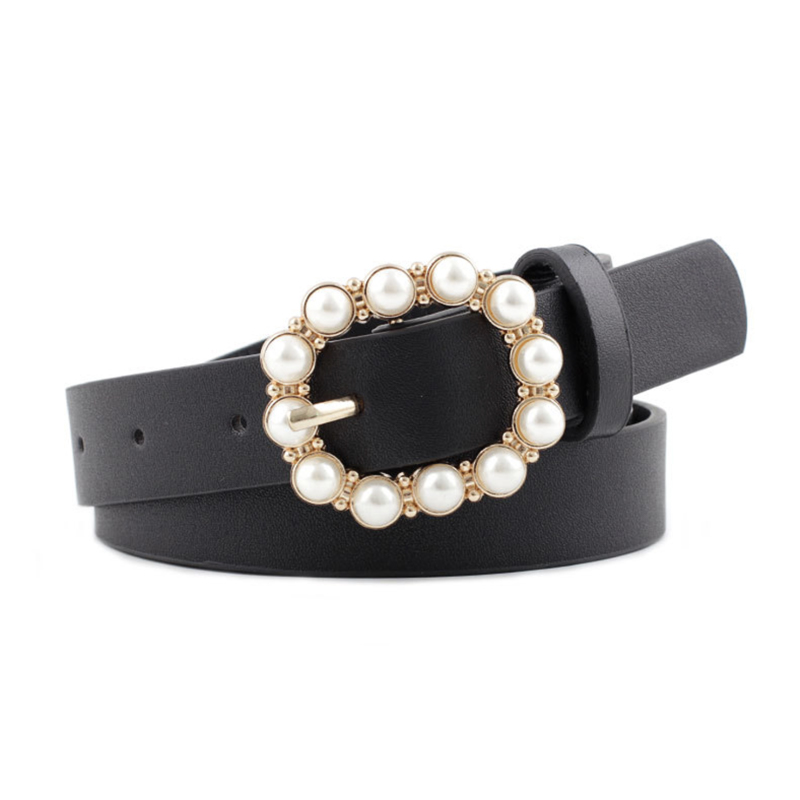 Pearl Belt Designer Belts For Women Waist Ceinture Femme Black Leather Cinturon Jeans Fashion Red Gold Buckle Waistband 2020