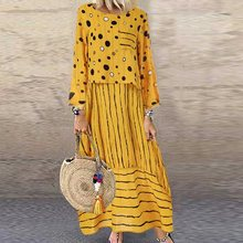 2019 Vintage Maxi Dress Women Elegant Party Robe Casual Long Sleeve Loose Long Dresses Plus Size Boho Dress Robe Femme Vestidos fashion long sleeve maxi dress women autumn robe casual plus size boho dresses female vintage bohemian beach floral long dress