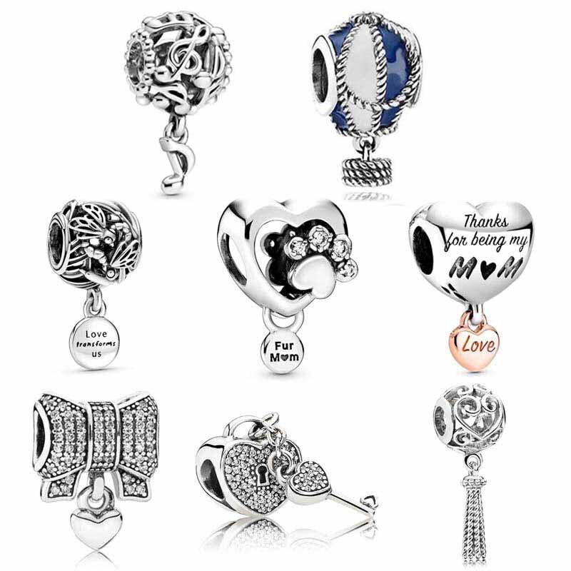 Original Pink Enamel cherry blossom Hot Air Balloon Pendant Bead Fit Pandora Bracelet 925 Sterling Silver Charm Jewelry(China)