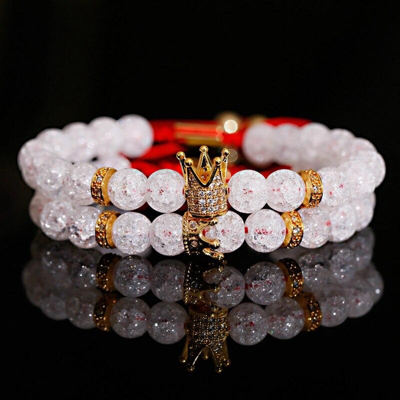 2020 moda contas de cristal branco casal pulseira masculino clássico cz crown & rainha charme macrame pulseira feminino jóias