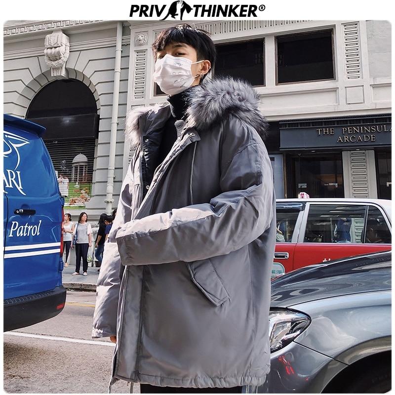 Privathinker Men Hooded Thicken Large Fur Collar Parkas Coat Men 2019 Winter Thicken Warm Jacket Male Hip Hop Loose Parka Casual