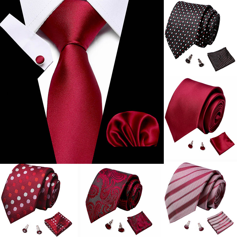 Wedding Men's Tie Handkerchief Cuffink Necktie Set Jacquard Woven 7.5 Cm 100% Silk Red Soild Necktie Accessories Luxury Bow Tie
