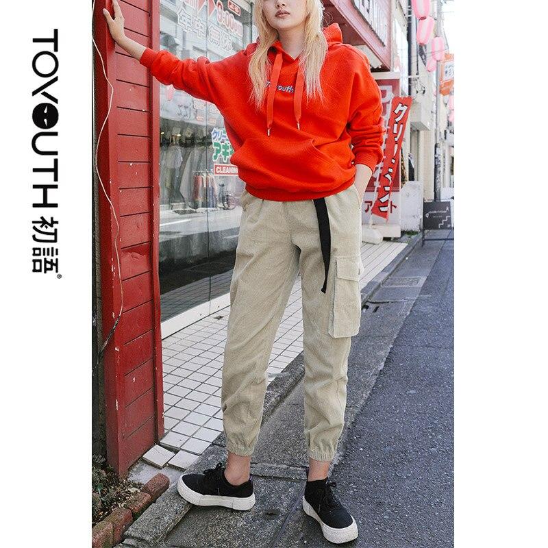 Toyouth Women Streetwear Cargo Pants Solid Autumn Corduroy Trousers Big Pockets Black Pants Female