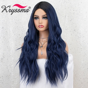 Image 5 - Kryssma Ombre Blue Wig Mixed Black Long Wavy Synthetic Wigs For Women Cosplay Wigs High Temperature Fiber Hair Wig