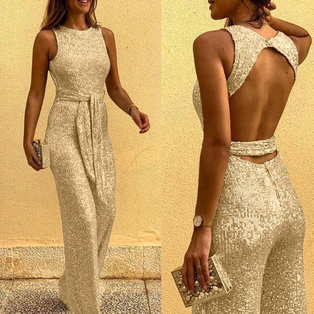Jumpsuit Long Adjusted-Strap Rompers Womens Zipper-Pockets Elegant High-Waist Summer title=