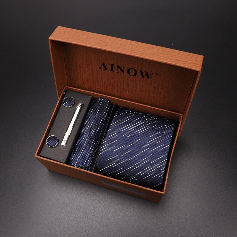 Набор галстуков 4 шт. мужской цветочный галстук для шеи клетчатый галстук подарок свадебный красный полосатый 8 см темно-синий жаккардовый тканый черный однотонный Камуфляжный ящик - Цвет: NO box 26